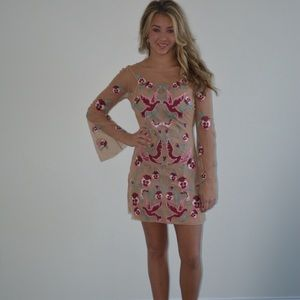 For Love and Lemons Dove Embroidered Dress XS